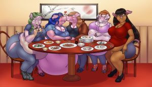 Pigging out at a Birthday Dinner by Lilly-moo