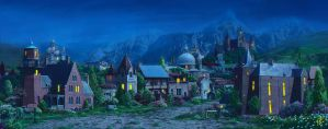 Medieval village2_night by inSOLense