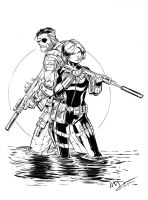 Nick Fury and Black Widow Inks by devgear