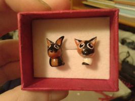 Dog and cat earrings by LittleChiwii