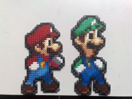 Perler beads Mario and Luigi by nick3529