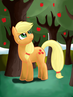 Applejack in apple orchard by Twilightspark1e