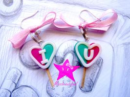 Earrings Lollipop I LOVE U by missbeautifool