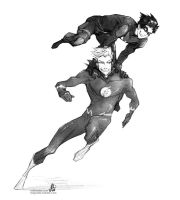 Nightwing and The Flash go go go! by croaky