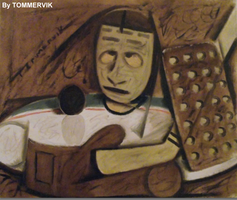 abstract hockey goalie painting by TOMMERVIK