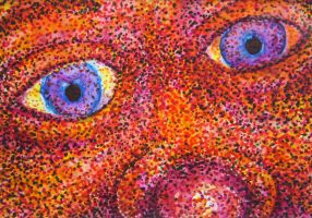 Red Nose Face - Pointillism Watercolor by rebeccamichellelee