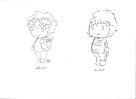 Sketch: rusty and walle by spot1the2dog3