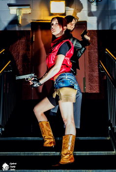 Us Against Them-Claire Redfield and Leon Kennedy by Hamm-Sammich