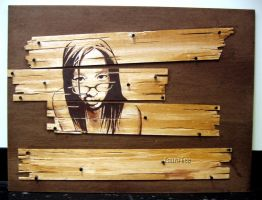 Self Portrait on Wood by EEP-central