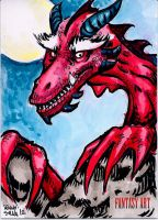 Red Dragon Fantasy sketch card by dsilvabarred