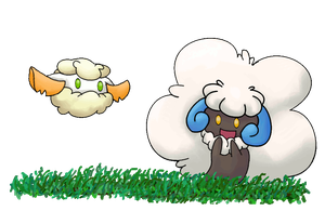 S. Whimsicott and S. Cottonee at play by Animela-WolfHybrid