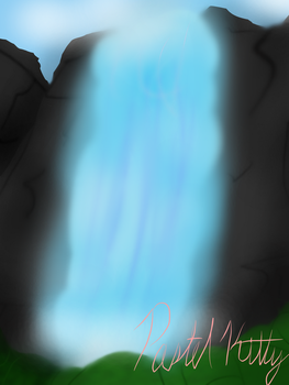 Landscape - Mountain Waterfall [Attempt] by CrystalPastelKitty