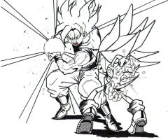 ssj goku vs s sonic lineart 2 by trunks24