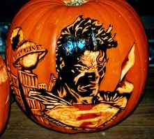 Superman Pumpkin by rjclrutter