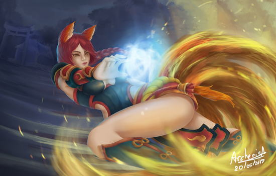 Ahri foxfire (Fan art ) by ithiphat