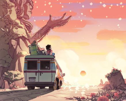 Print a Palooza charity poster: Beach City Sunset by EvanStanley