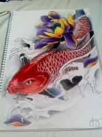 Red Koi fish with lotus by j0oey
