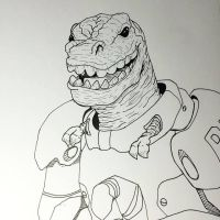 T-Rex in a power armor by NoriToy