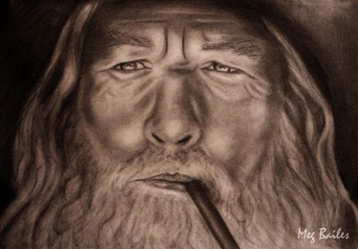 Gandalf Pencil Drawing by MegBailes