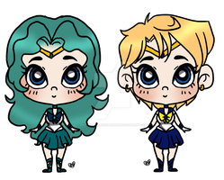 Sailor Uranus Sailor Neptune Chibs by Artlover4lifeHannah