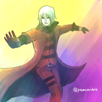Devil May Cry - Dante (Watercolor Brush practice) by YamiMidna