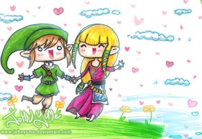 Chibi couple LoZ by JohnYume