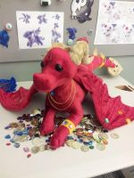 Giant Red Treasure Dragon by BeeZee-Art