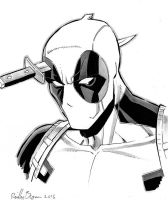 Deadpool with a knife in his head by ReillyBrown