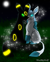 Umbreon and Glaceon Forever by BlueSkyWolf