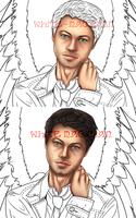 WIP Castiel's cutie face and gorgeous hair by White-Magician