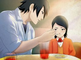 Sasuke and his daughter Sarada - Dinner by Lesya7