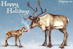 Realistic Rudolph Christmas Card by EmilyStepp