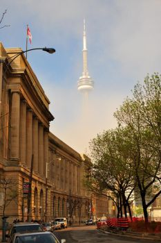 CN Tower in Fog by Gynormus-Cranius