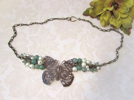 Brass butterfly and aventurine pearls choker by asukouenn