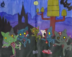 Zombie Cat Dance by Fouguri