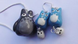 Totoro Polymer Jewelry Set by naga-kkw87
