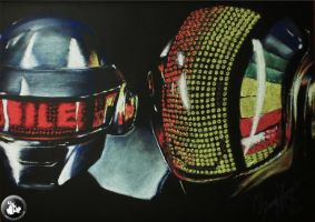 daft punk helmets (pastel drawing) by KondaArt