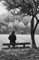 Alone by the lake by Jessica-Art