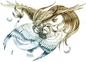 Sketchtober 5: Wings of Bravery and Gracility by Pigeona