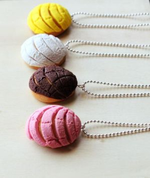 Polymer Clay Mexican Conchas Pan Dulce Necklaceds by Thatshortgirl88