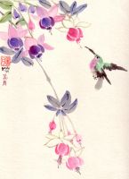 hummingbird and fuschia by whatupgee