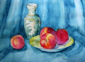 I.Ovchinnikova Nectarines and oriental vase by vasoiko
