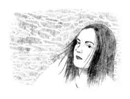 Etching: Somber Meaghan by LOOMcomics