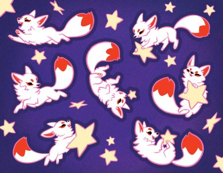 Startail Fox Stickers by Mamath