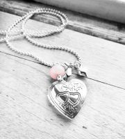 Engraved Small Silver Plated Heart Locket Necklace by crystaland