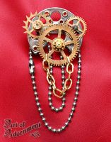 Steampunk Machineworks Brooch by ArtOfAdornment