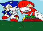 knuckles and sonic by oksammie2001