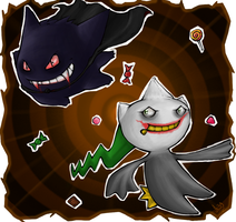 Gengar and Banette by Mad-Stalker