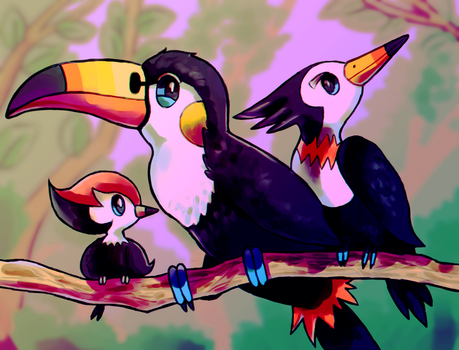 Pikipek's family by ShadNoir