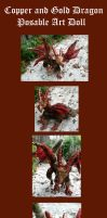 Copper and Gold Dragon Posable Doll by Eviecats